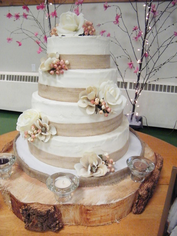 Wedding Cakes With Burlap Ribbon  Burlap Ribbon Wedding Cake Wedding Cake Cake Ideas by