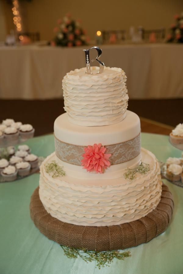 Wedding Cakes With Burlap Ribbon  Country Chic wedding cake with orange floral and burlap