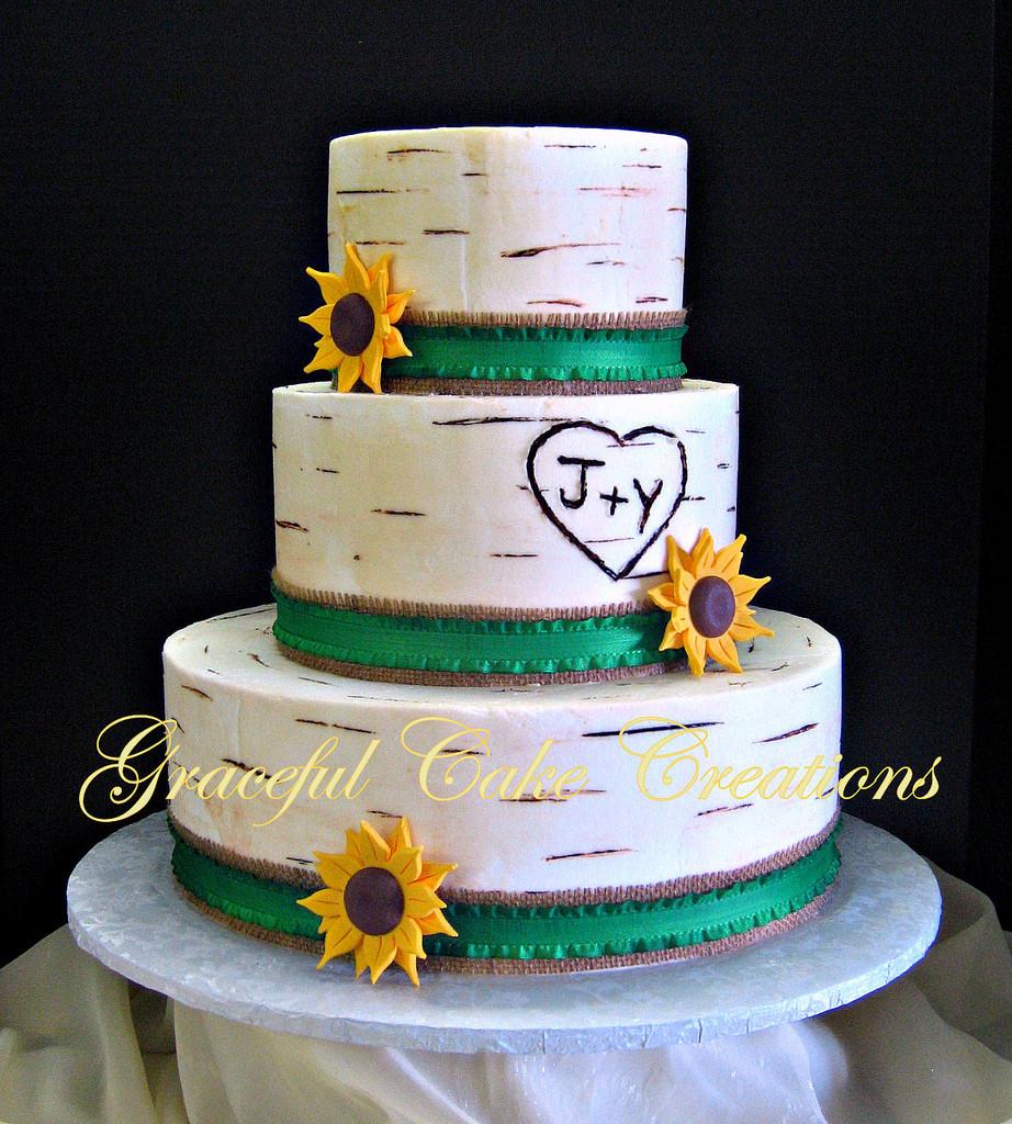 Wedding Cakes With Burlap Ribbon  Rustic White Birch Wedding Cake with Burlap Ribbon and