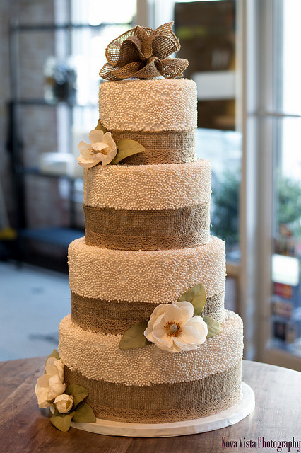 Wedding Cakes With Burlap Ribbon  Pearls with Burlap Ribbon & Flowers Tiered Wedding Cake