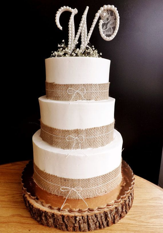 Wedding Cakes With Burlap Ribbon  17 best images about burlap wedding cakes on Pinterest