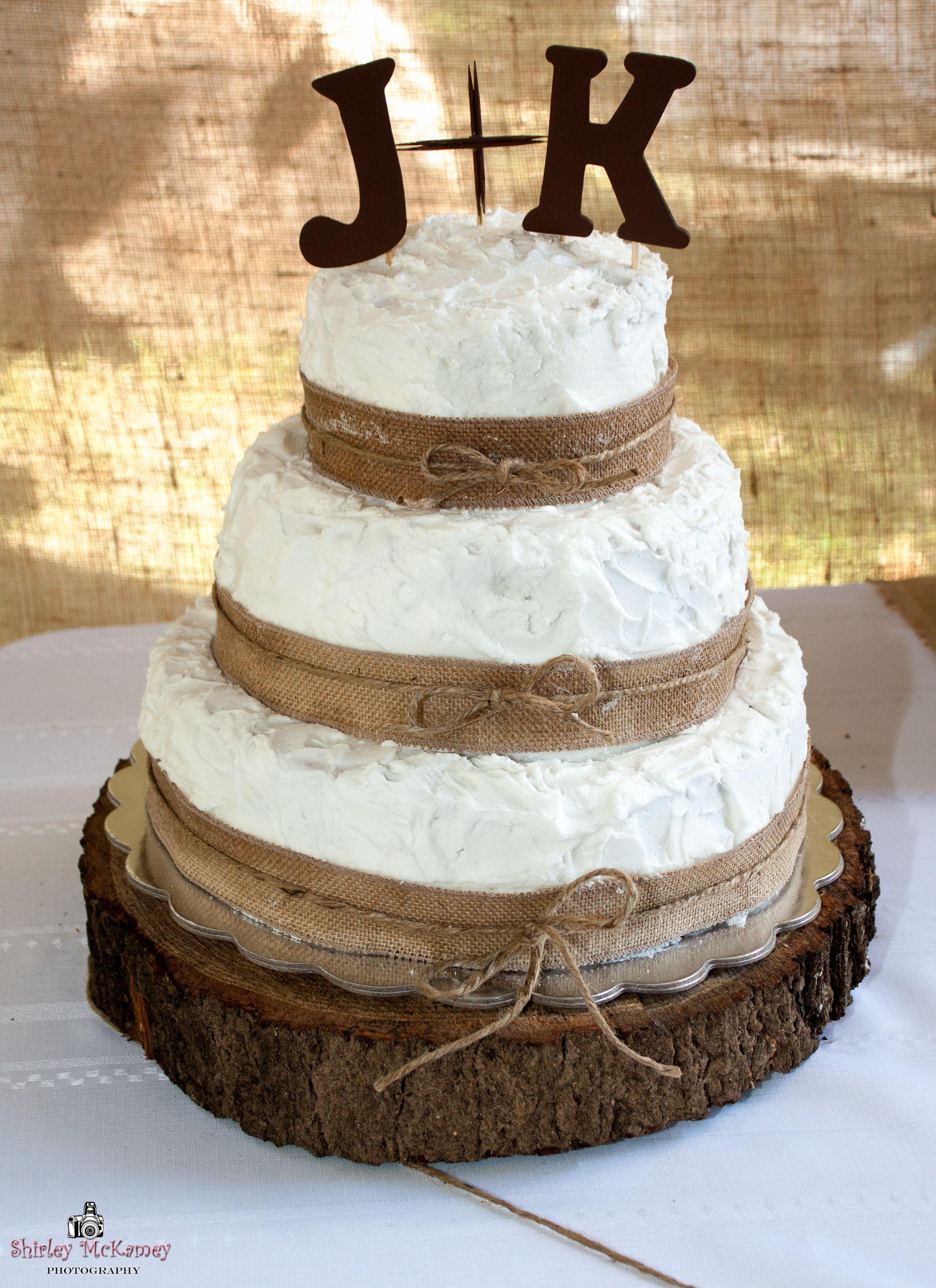 Wedding Cakes With Burlap Ribbon  3 Tier Wedding Cake… Decorated With Burlap Ribbon & Twine