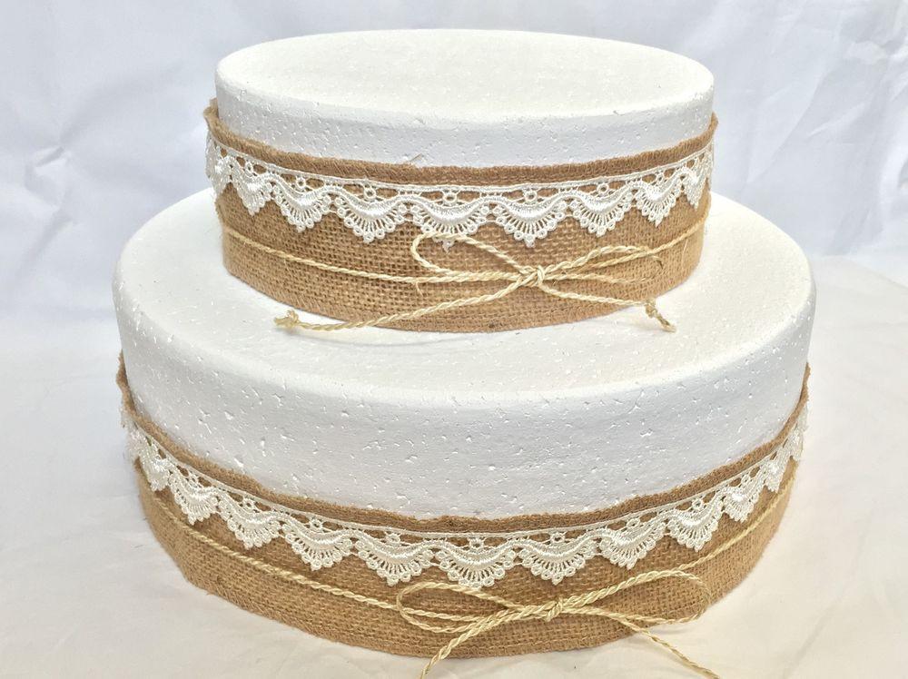 Wedding Cakes With Burlap Ribbon  Natural Rustic Wedding Birthday Bridal Cake Decoration
