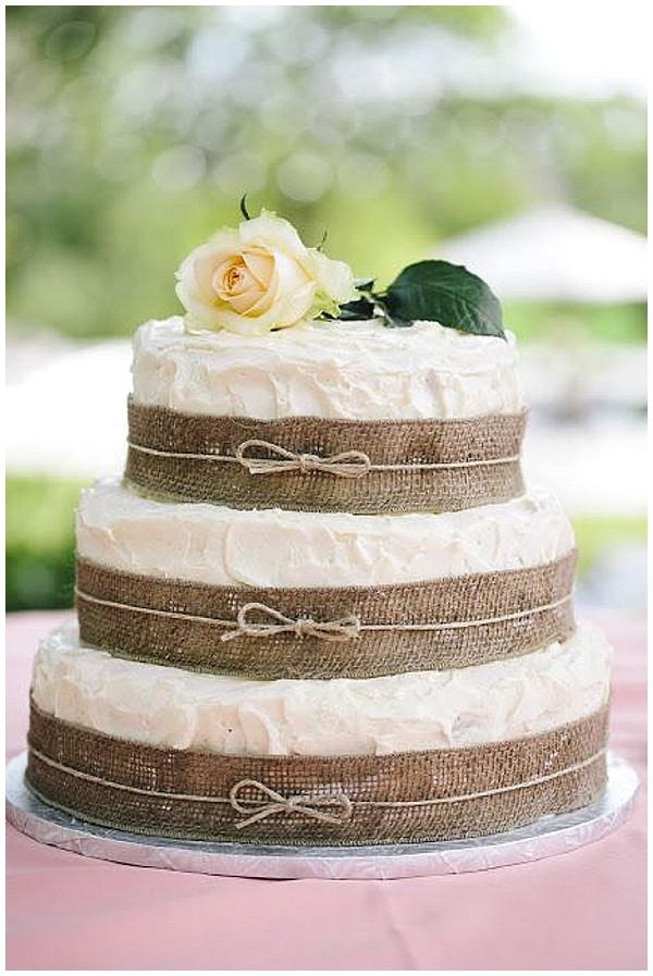 Wedding Cakes With Burlap Ribbon  40 Hessian Wedding Ideas