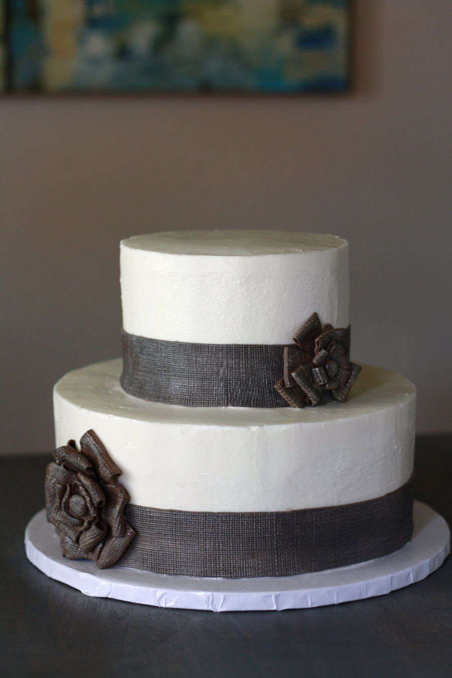 Wedding Cakes With Burlap Ribbon  Burlap Ribbon Wedding Cake CakeCentral