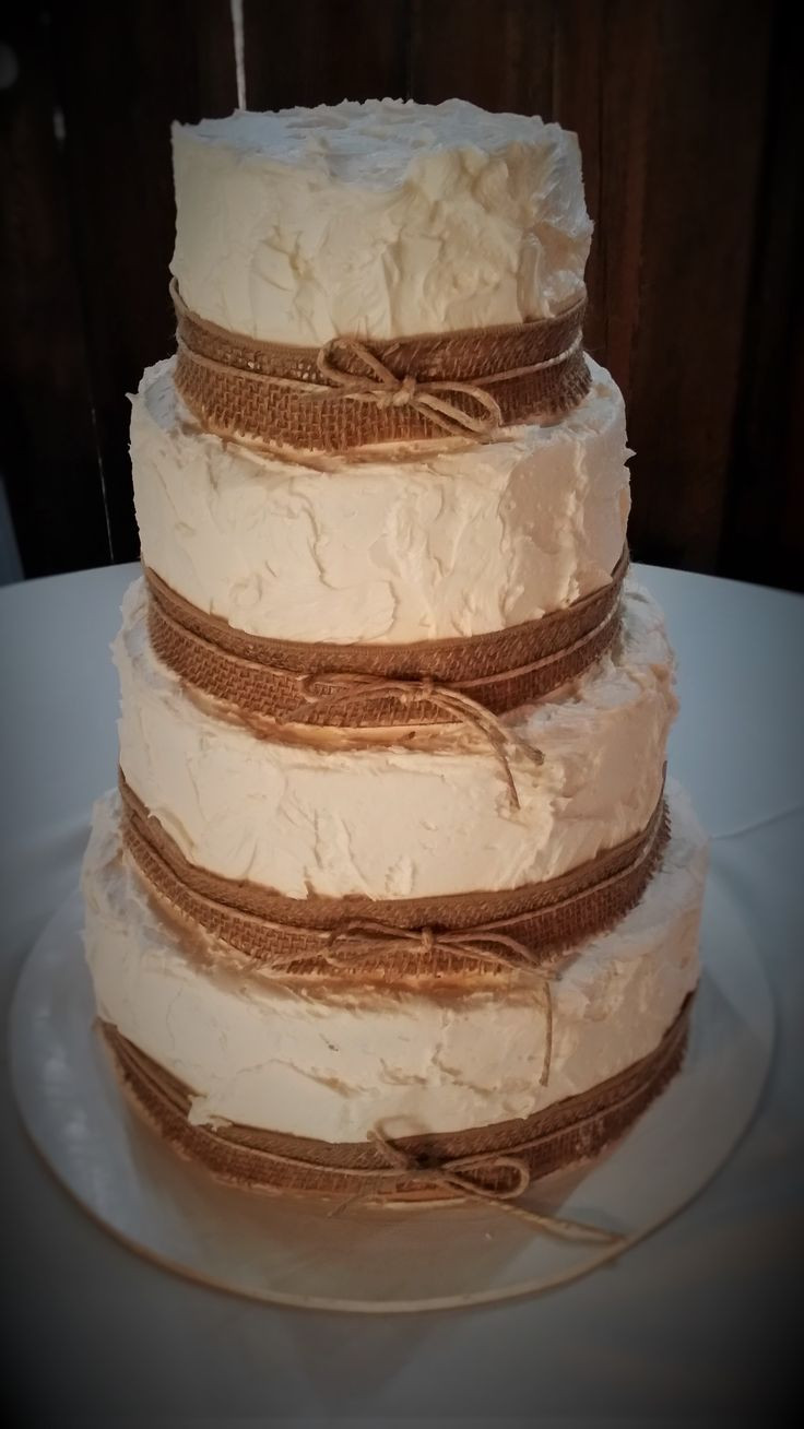 Wedding Cakes With Burlap Ribbon  180 best images about Wedding Cakes at Barn at Boones Dam