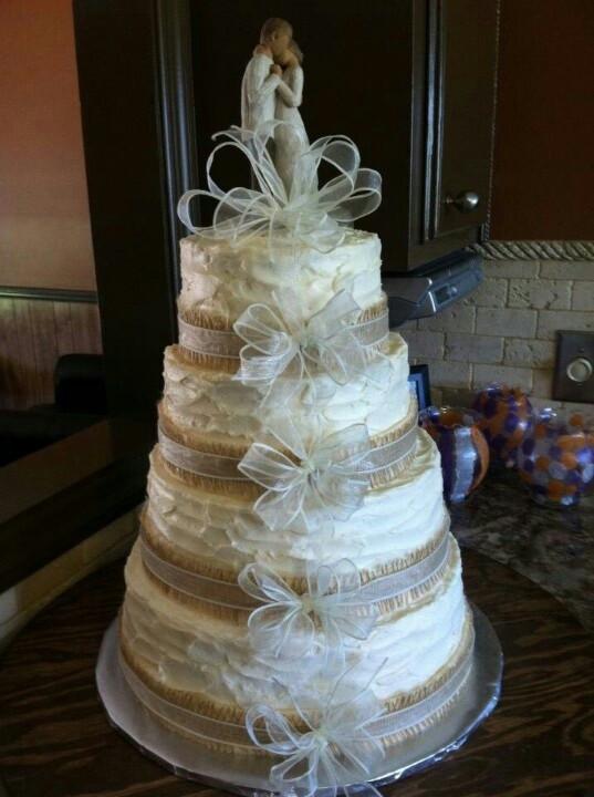Wedding Cakes With Burlap Ribbon  Wedding cake I made with burlap ribbon