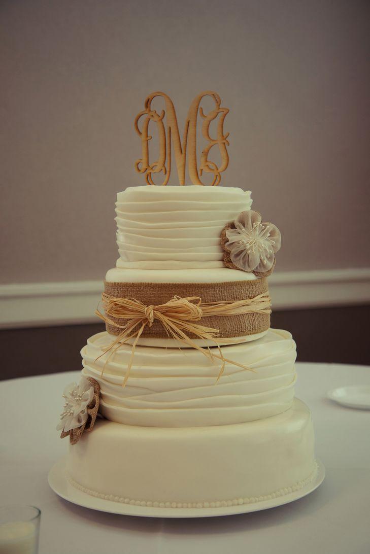 Wedding Cakes With Burlap Ribbon  Rustic Wedding Cake with Burlap and Straw Ribbon and
