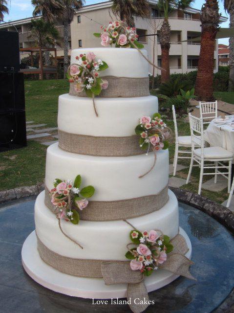 Wedding Cakes With Burlap Ribbon  wedding cakes with burlap ribbon Wedding Cakes
