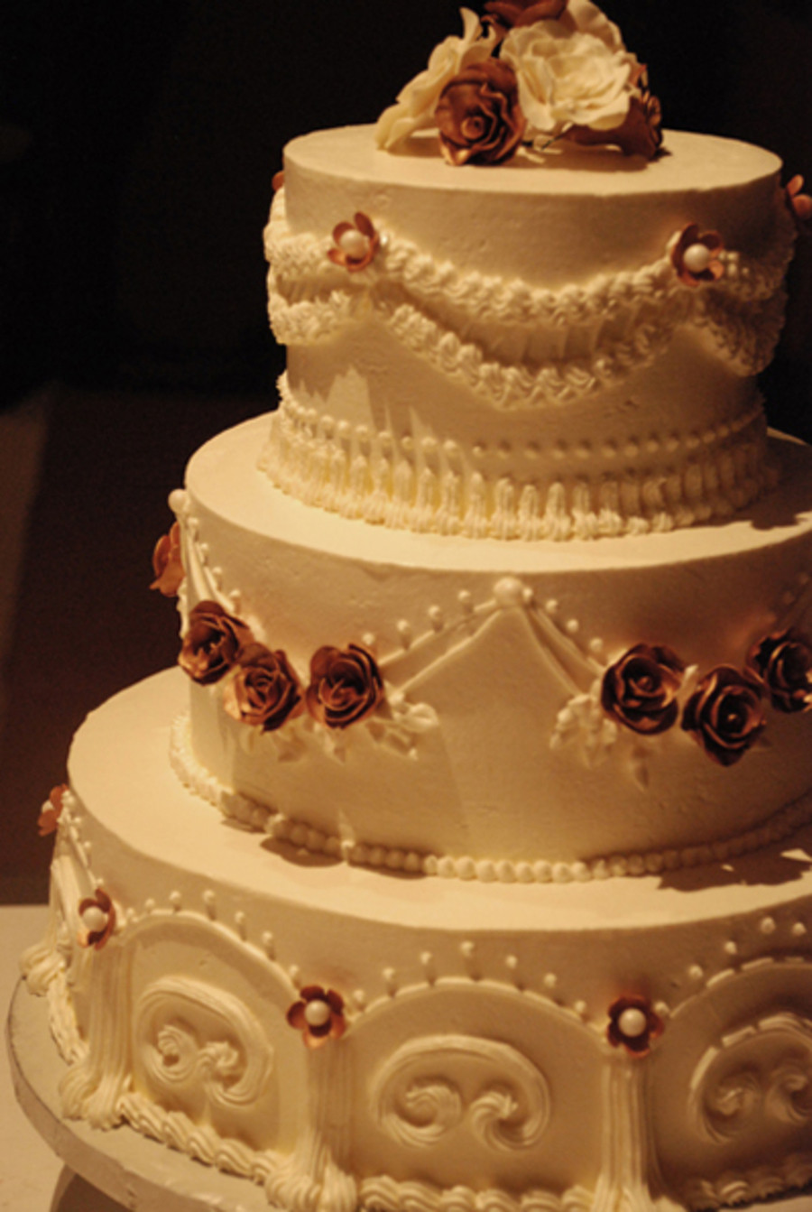 Wedding Cakes With Buttercream Frosting  3 Tier Italian Buttercream Wedding Cake CakeCentral