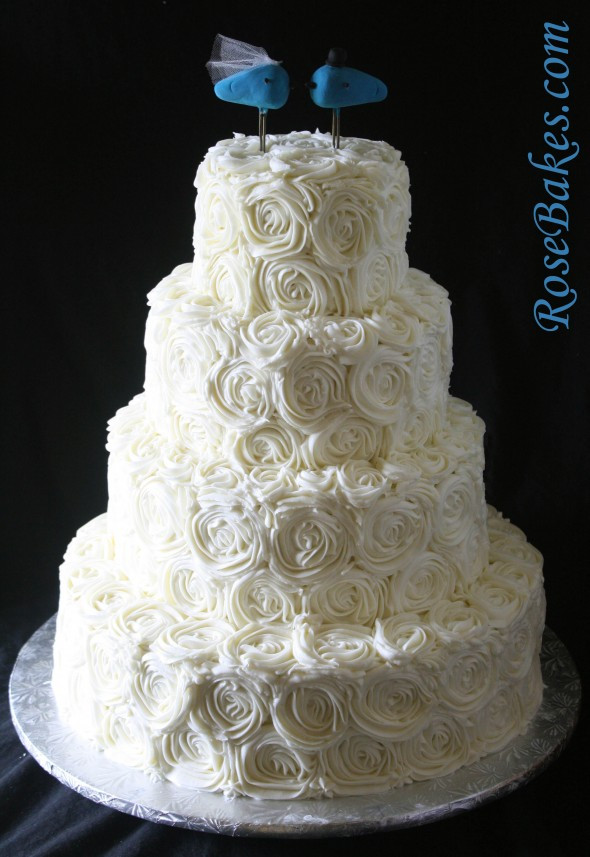 Wedding Cakes With Buttercream Icing  Ivory Buttercream Roses Wedding Cake with LoveBirds Cake