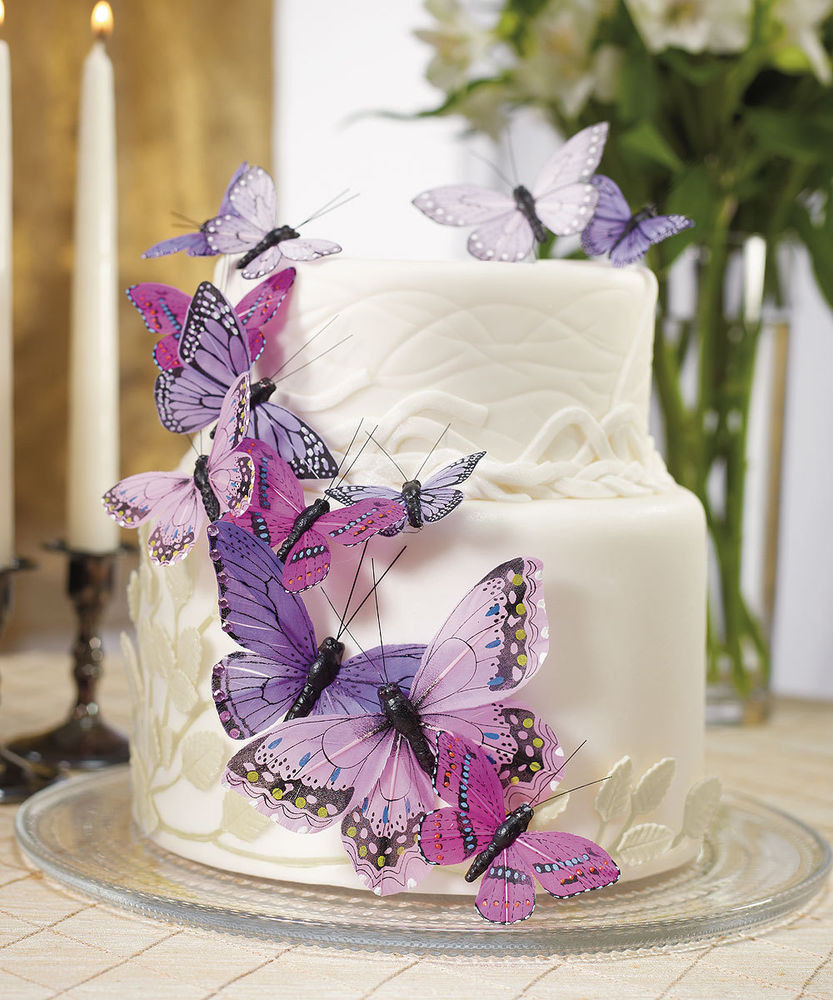 Wedding Cakes With Butterfly  Purple Butterfly Butterflies Wedding Cake Decorations