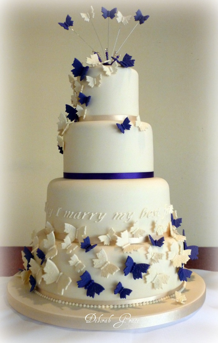 Wedding Cakes With Butterfly  Butterfly Wedding Cake Decorations