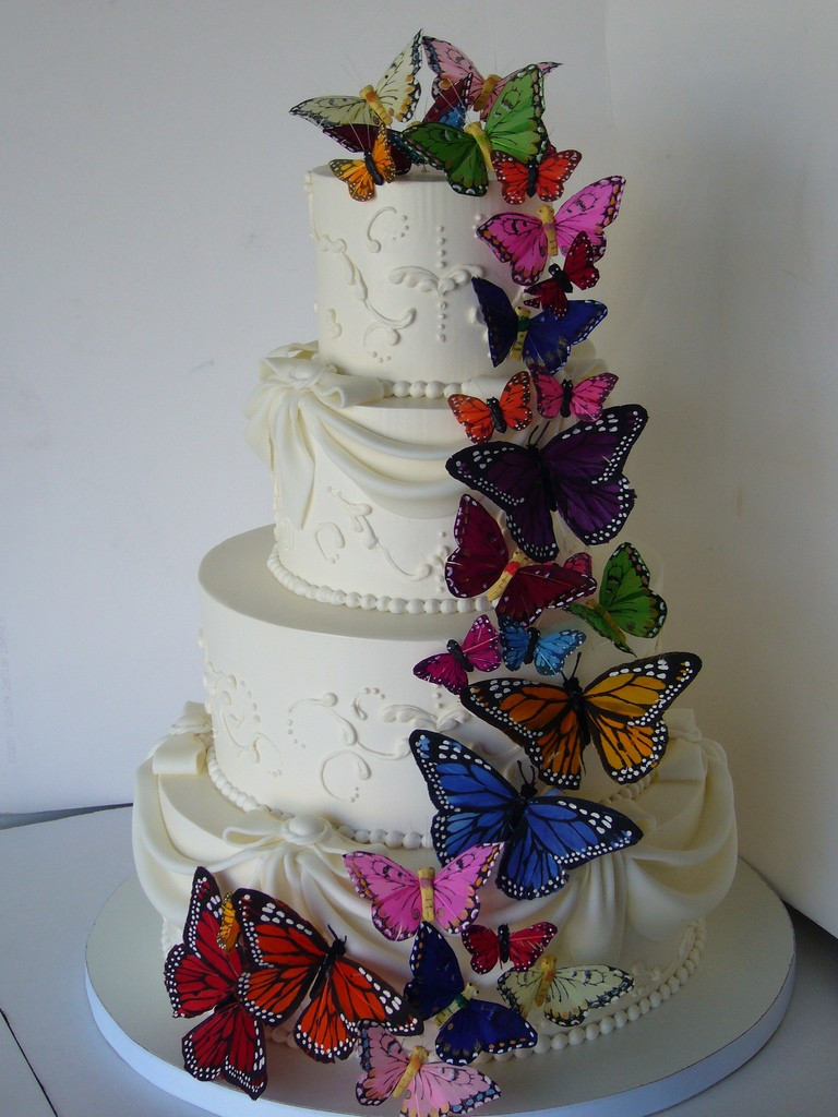 Wedding Cakes With Butterfly  Butterfly Wedding Cake Decorations Wedding and Bridal