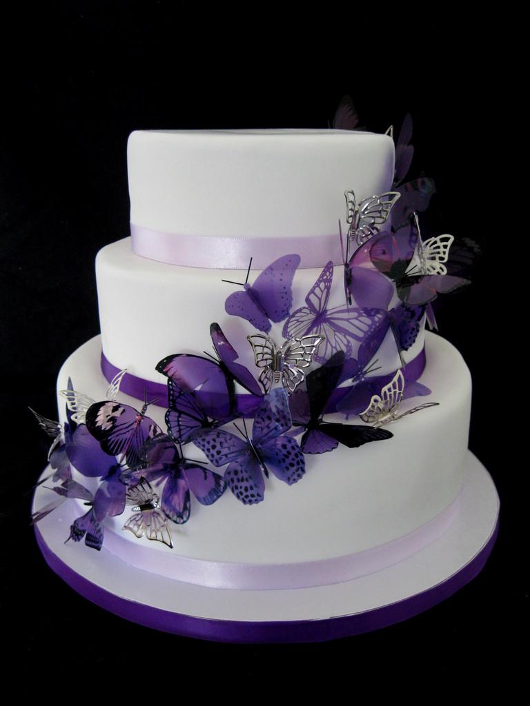 Wedding Cakes With Butterfly  Purple Butterfly Wedding Cake Rachel