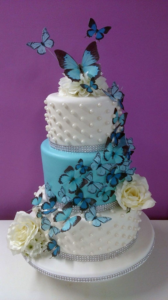 Wedding Cakes With Butterfly  3 Tier Butterfly Wedding Cake cake by Hayley Jane s