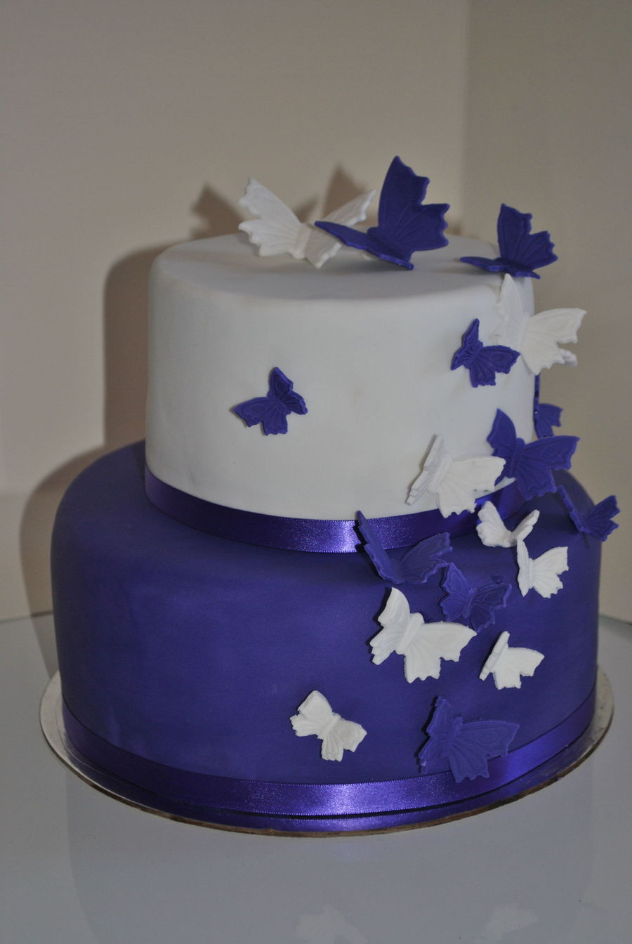 Wedding Cakes With Butterfly  Purple And White Butterfly Wedding Cake CakeCentral