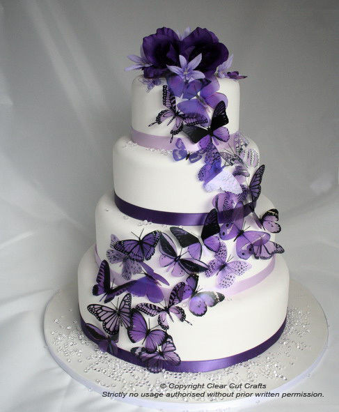 Wedding Cakes With Butterfly  20 Mixed Purple Butterflies great for Wedding Cakes