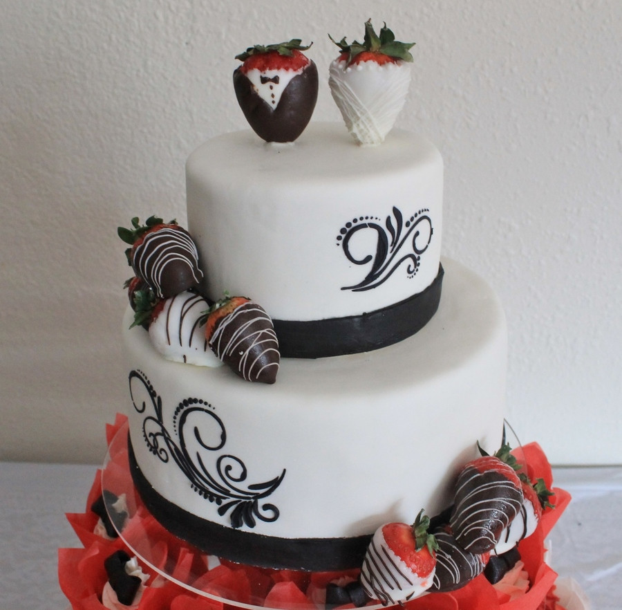 Wedding Cakes With Chocolate Covered Strawberries  Strawberry Scroll Wedding Cake CakeCentral
