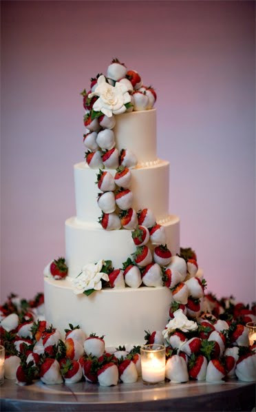 Wedding Cakes With Chocolate Covered Strawberries  Instead of flowers on a wedding cake do chocolate covered
