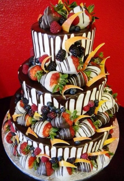 Wedding Cakes With Chocolate Covered Strawberries  Pastry Palace Las Vegas Wedding Cake 1020 – Strawberry