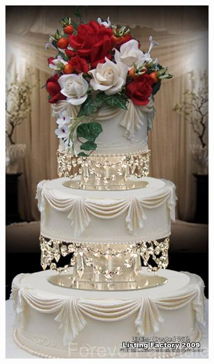 Wedding Cakes With Crystals  Swarovski Crystal Wedding Cake Tier Separator Set 8in