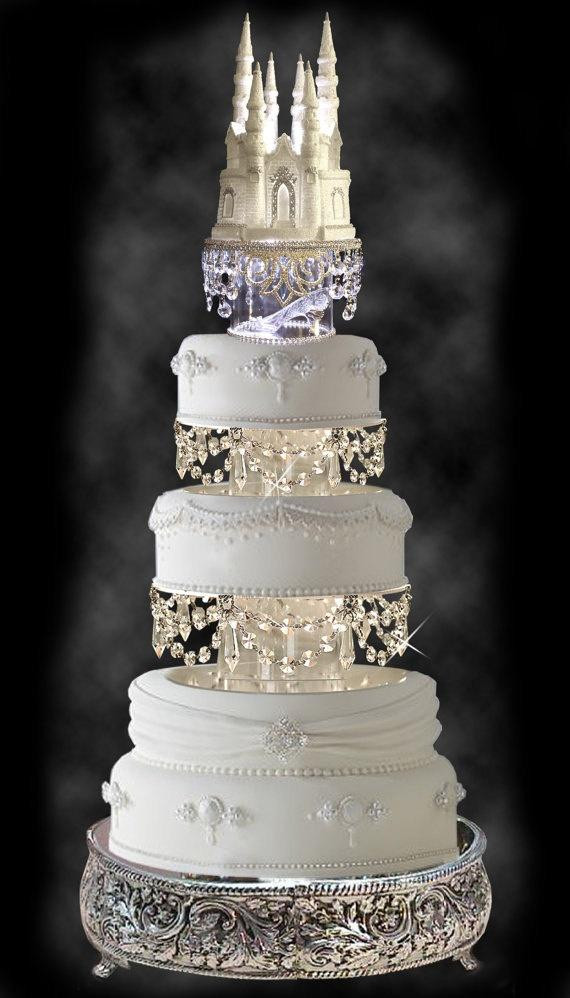 Wedding Cakes With Crystals  Disney Wedding Swarovski Crystal Wedding Cake Tier Set