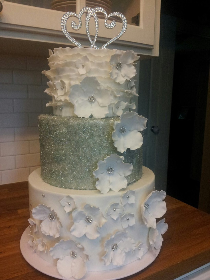 Wedding Cakes With Crystals  White wedding Floral and sugar crystal made by me for my