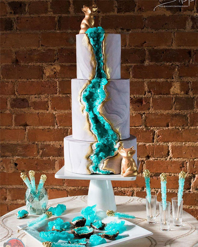 Wedding Cakes With Crystals  30 Geode Wedding Cakes Ideas Make You For All Other Cakes