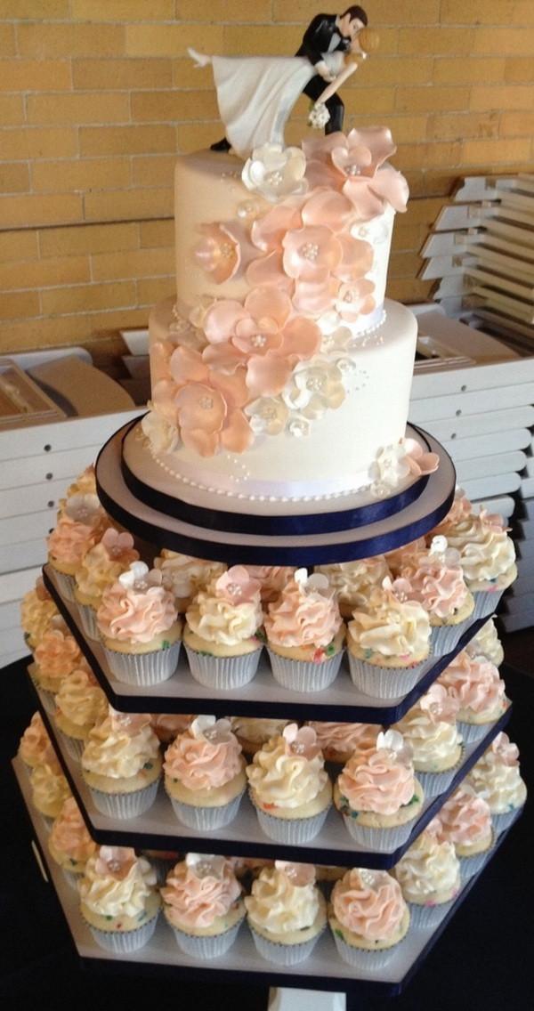 Wedding Cakes With Cupcakes On Tiers  Cupcake Wedding Cakes