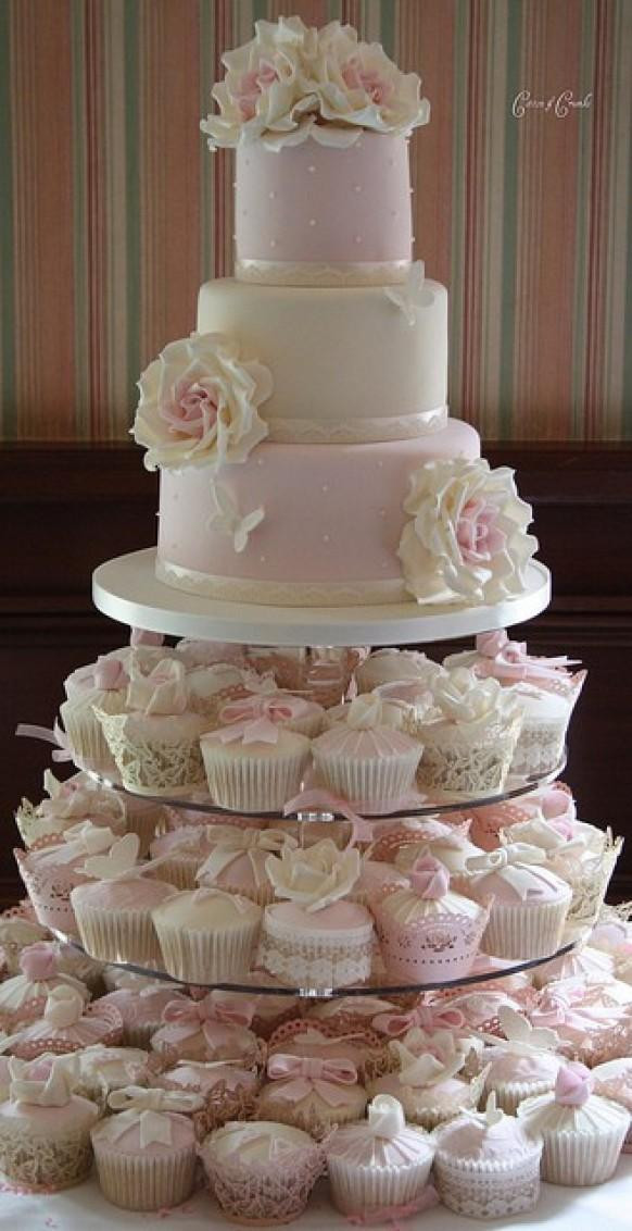 Wedding Cakes With Cupcakes On Tiers  Fondant Wedding Cakes ♥ Wedding Cupcake Design