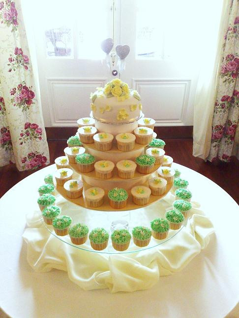 Wedding Cakes With Cupcakes On Tiers  Wedding Cakes Green Wedding Cupcakes