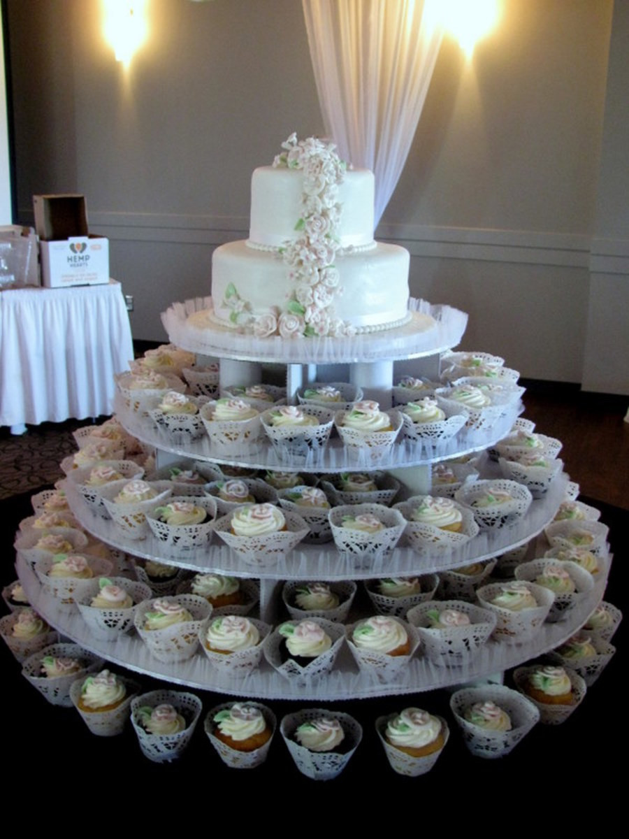 Wedding Cakes With Cupcakes On Tiers  2 Tiered Wedding Cake Cupcakes Mini Cakes