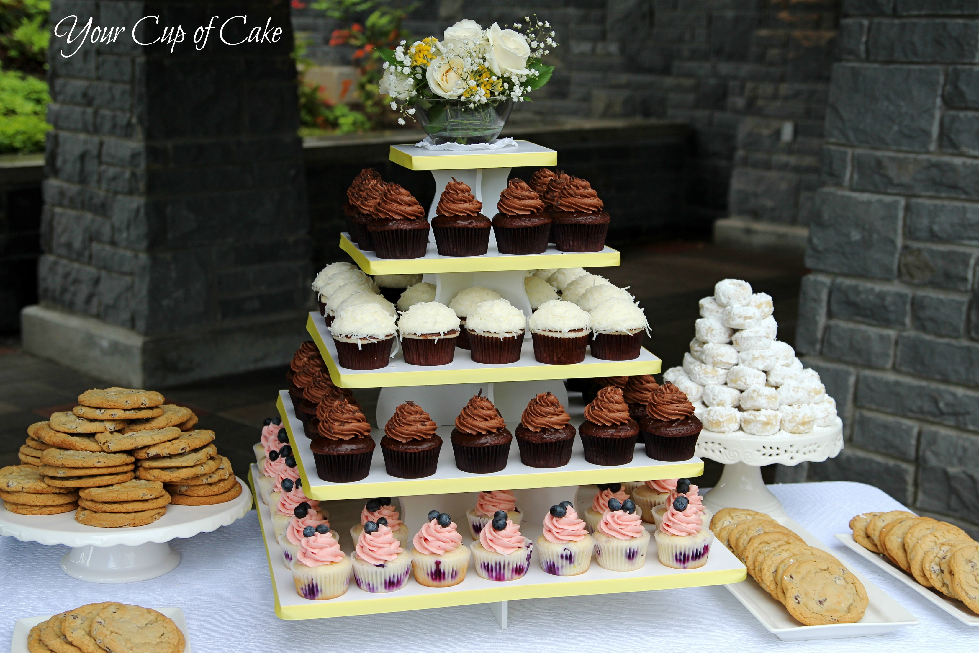 Wedding Cakes With Cupcakes On Tiers  Wedding Reception Your Cup of Cake