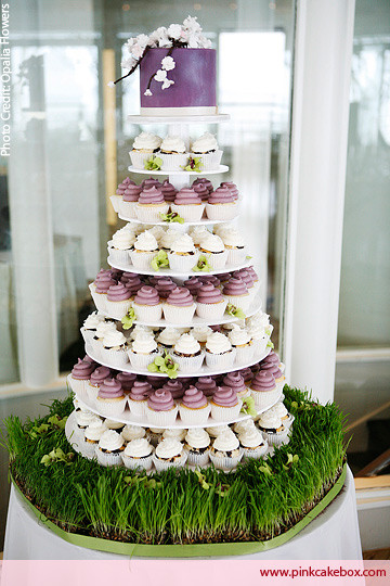 Wedding Cakes With Cupcakes On Tiers  Wedding Cupcake Stands Pink Cake Box Custom Cakes & more