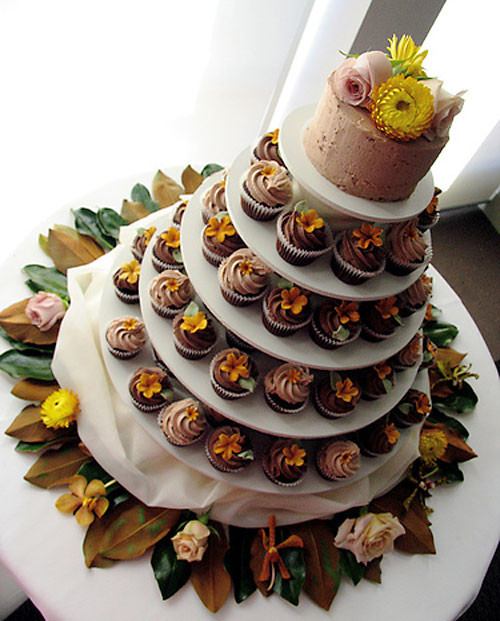 Wedding Cakes With Cupcakes On Tiers  Cupcake Tiered Wedding Cake Designs