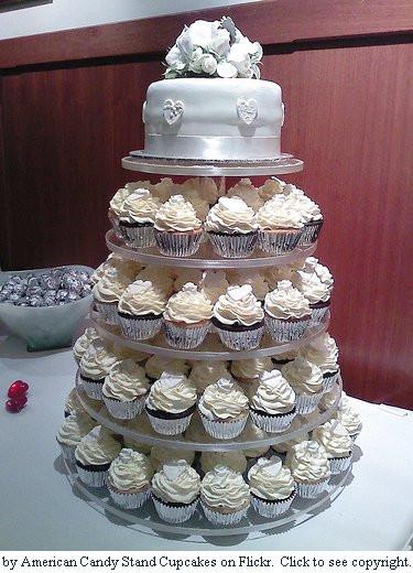 Wedding Cakes With Cupcakes On Tiers  Cupcake Wedding Cake