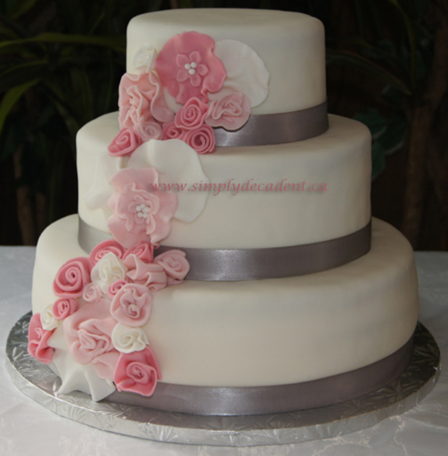 Wedding Cakes With Fondant  3 Tier Fondant Wedding Cake With Spray Pink Fondant