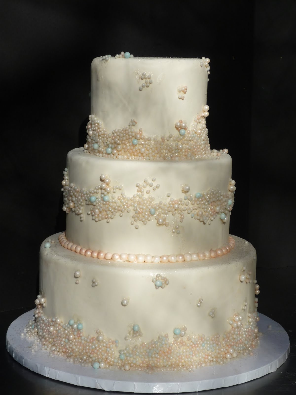 Wedding Cakes With Fondant  Artisan Bake Shop Wedding Cake Fondant Tiers with Pearls