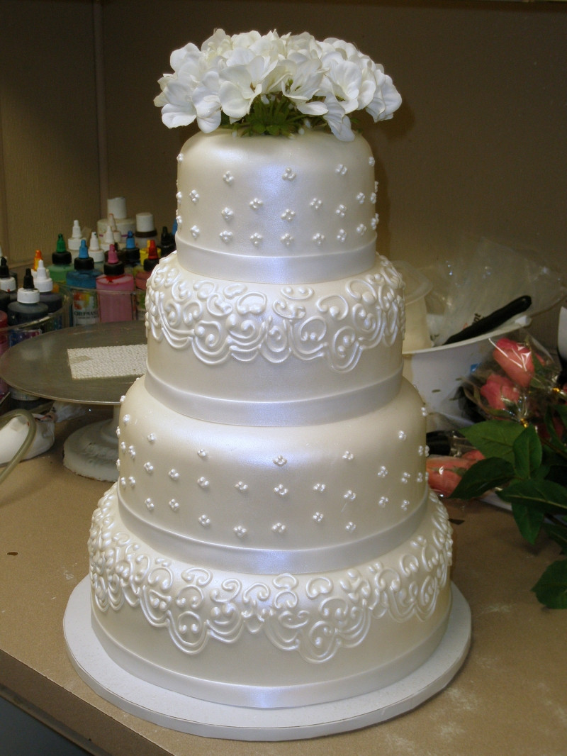 Wedding Cakes With Fondant  Tier Round Custom White Pearl Fondant Classic Traditional