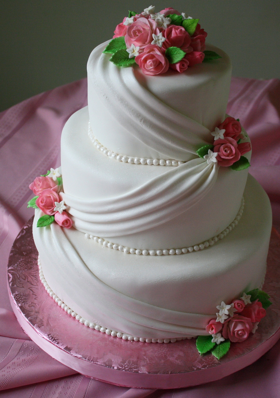 Wedding Cakes With Fondant  Fondant Wedding Cake With Pink Roses CakeCentral