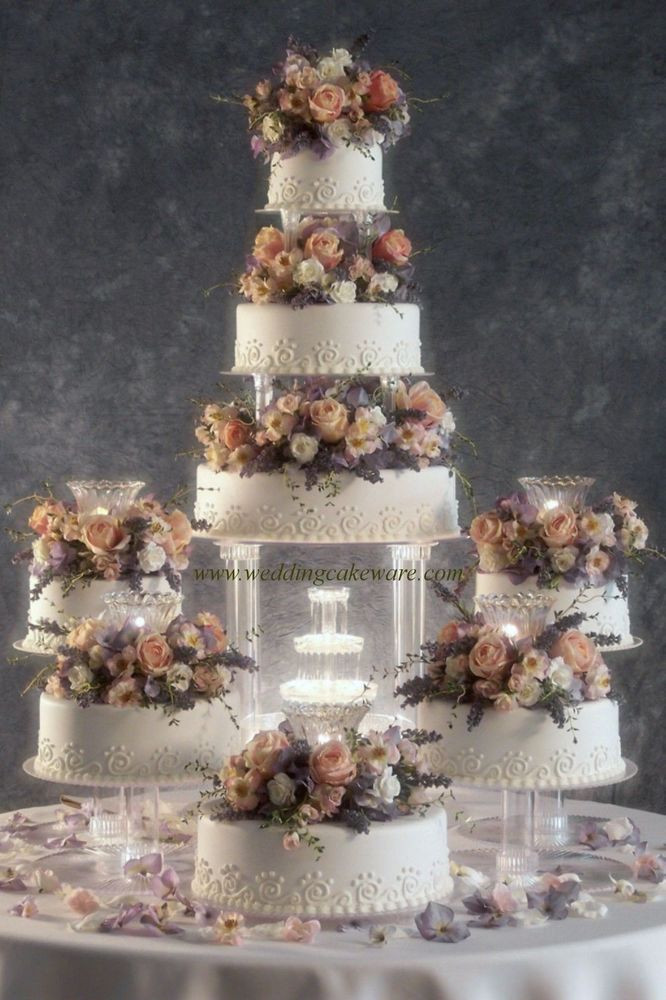 Wedding Cakes With Fountain  8 TIER CASCADING FOUNTAIN WEDDING CAKE STAND STANDS SET