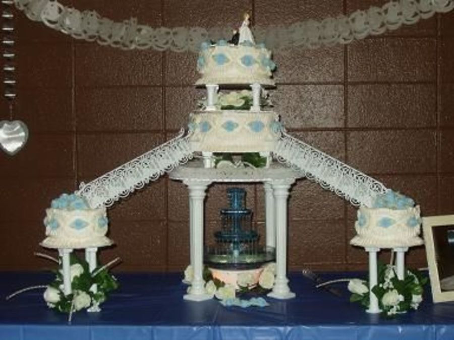 Wedding Cakes With Fountain And Stairs  Three Tier Wedding Cake With Fountain And Stairs