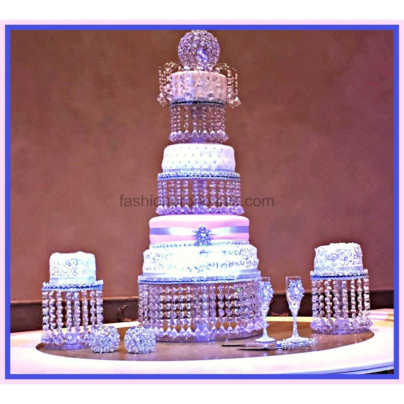 Wedding Cakes With Fountains And Lights  Wedding Crystal Cake Stand Triple tier Crystal Wedding
