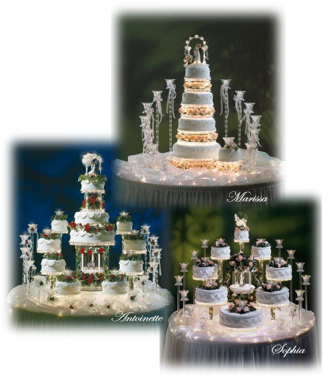 Wedding Cakes With Fountains And Lights  Elegant Wedding Cakes with Fountains