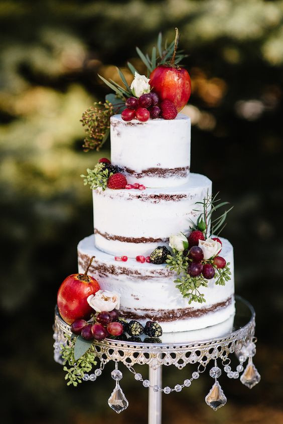 Wedding Cakes With Fruit  27 Naked Fall Wedding Cakes That Will Make Your Mouth