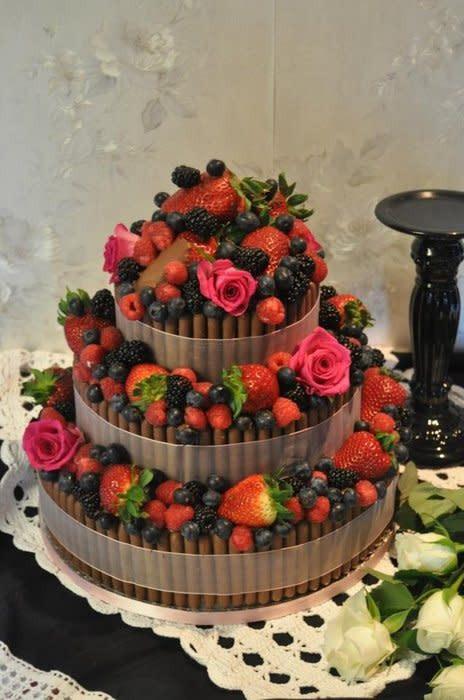 Wedding Cakes With Fruit  Chocolate and fruit wedding cake cake by Susie CakesDecor