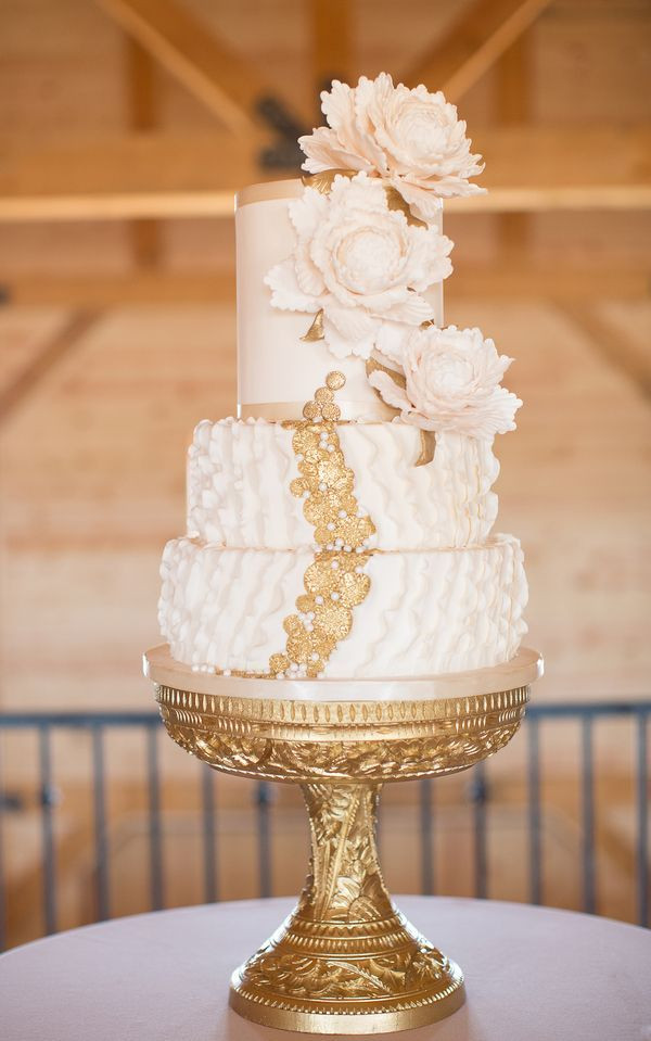 Wedding Cakes With Gold Accents  wedding cakes with gold accents spark and shine your day
