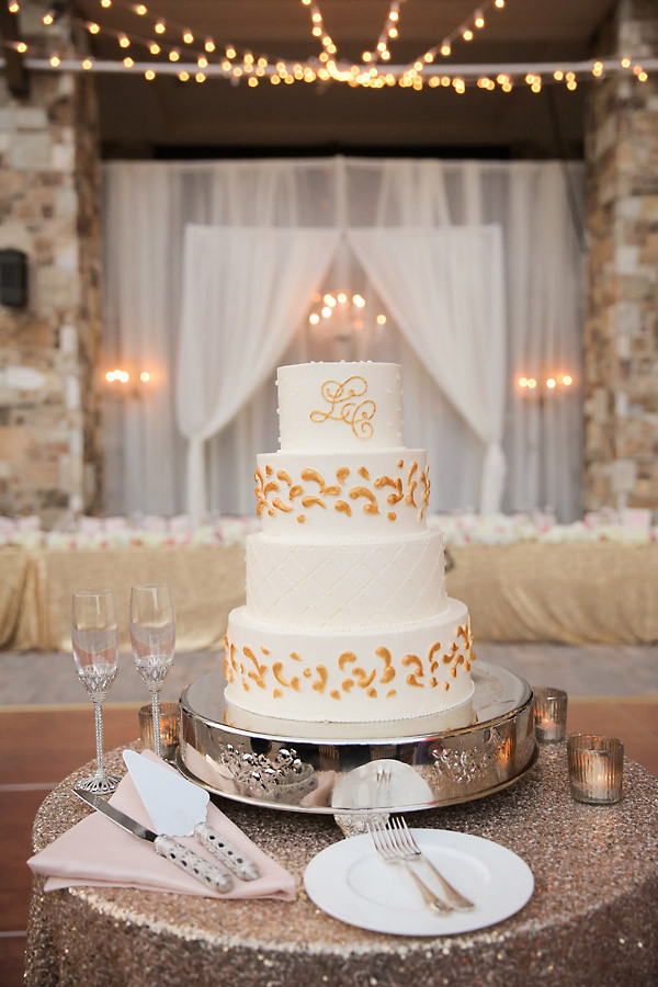 Wedding Cakes With Gold Accents  White Wedding Cake with Gold Accents Elizabeth Anne