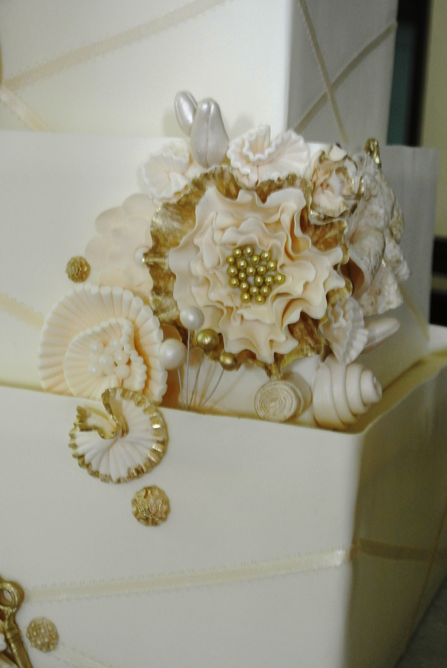 Wedding Cakes With Gold Accents  Wedding Cake With Gold Accents CakeCentral